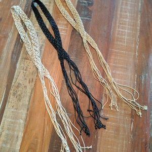 Boho Macrame 3 Belts w/ Fringe Black Tan and Beige